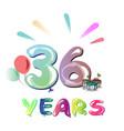 36th happy anniversary celebration vector image