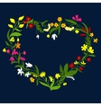 Heart frame with wreath of wildflowers and herbs vector image