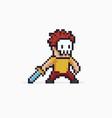 pixel art warrior vector image