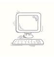 Sketched desktop computer icon vector image