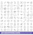 100 smartphone icons set outline style vector image