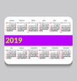 2019 pocket calendar in english template calendar vector image