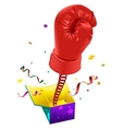April Fools day Red boxing glove on spring flies vector image