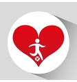 athlete silhouette football heart beat graphic vector image