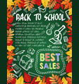 back to school special offer poster sale design vector image vector image