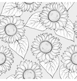 Black and white seamless background with sunflower vector image