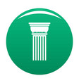 building column icon green vector image