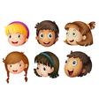 cartoon kids faces vector image