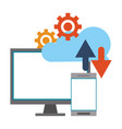 cloud computing and technology symbols vector image vector image
