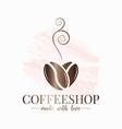 coffee bean watercolor logo love concept design vector image