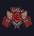 color tattoo machines with rose and wings vector image