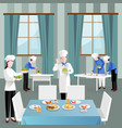 cooking people in restaurant composition vector image vector image