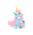 cute funny unicorn character with 3d glasses and vector image vector image
