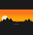 desert view egypt pyramids sunset flat vector image