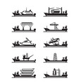 different heavy lift ships vector image vector image