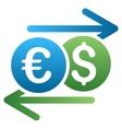 Dollar Euro Swap Gradient Icon vector image vector image