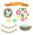 Easter set Eggs in nest birds and flowers vector image vector image