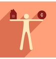 Flat with shadow icon man holding house and coins vector image vector image