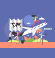 flight tour flat style design vector image vector image