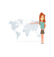 girl smiling and showing to the world map vector image vector image