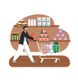 grocery store man with shopping trolly full of vector image