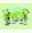 group of people in skateboard on the park vector image