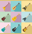 guitar icons set flat style vector image
