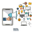 hand holding speaker smartphone digital marketing vector image vector image