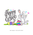 Happy Easter Easter bunnies and egg in field vector image vector image