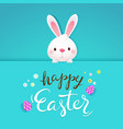 happy easter greeting card with white rabbit vector image vector image