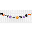 happy halloween bunting flags isolated vector image