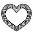 Heart Mehndi design Indian Henna tattoo pattern vector image vector image