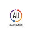 initial letter au creative circle logo design vector image vector image