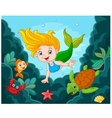 Little Mermaid with sea animals vector image vector image