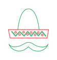 mexican hat and mustache carnival costume vector image vector image