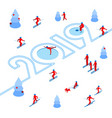 new year 2019 concept - sport in the forest vector image vector image