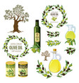 olive colored isolated icon set with products and vector image