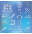 outline hospital icons vector image vector image