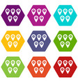 pointer marks icon set color hexahedron vector image