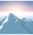 Polar sunrise mountain and snowfalling landscape vector image