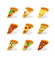 realistic 3d detailed pizza slices set vector image