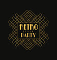 retro party logo design vintage luxury minimal vector image vector image