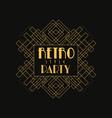 retro party logo design vintage luxury minimal vector image vector image