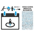 Rocket Start Calendar Day Icon With 1000 Medical vector image vector image