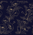 seamless pattern golden poppy flowers on a vector image