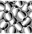 seamless tomato background black and white vector image vector image