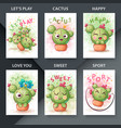set cute - cartoon cactus emotion vector image vector image