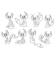 Set of cartoon contour cats vector image