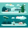 Set of winter landscape vector image vector image