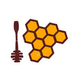 spoon for honey honeycombs color vector image